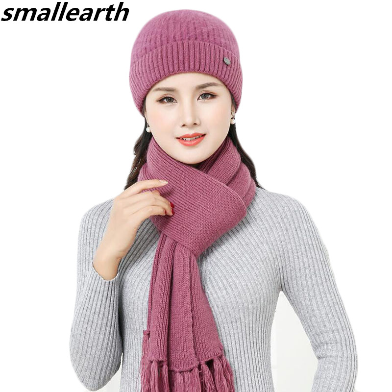 New Winter Women Rabbit Fur Hat Scarf Set Warm Wool Knitted Plush Hat Scarf Sets Crochet Bonnet Mom Cap Gifts Twist Fleece Shawl