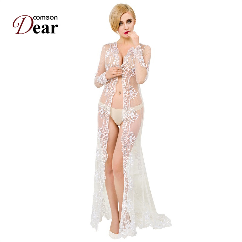 Comeondear Long Night Grown Transparent Exotic Apparel Pure White Delicate Lace Cardigan Gown Embroidery Sleepwear VK1019