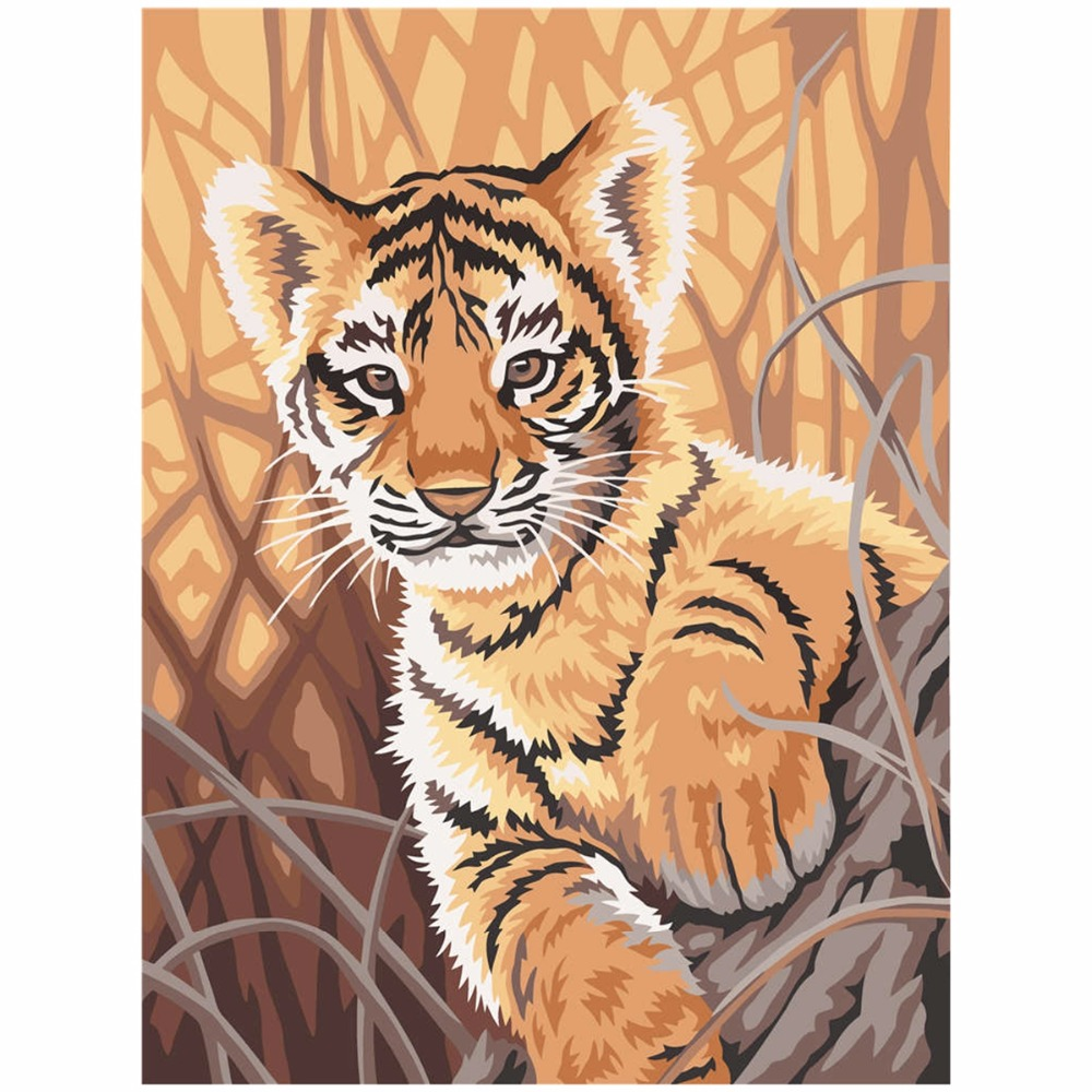 Cute Little Tiger Oil Paint Painting By Numbers DIY ...