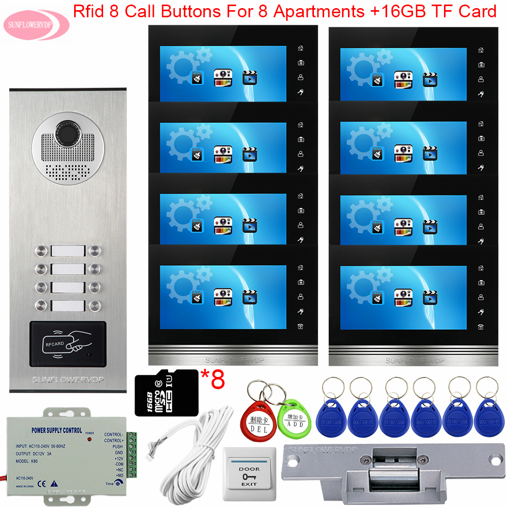 Video Intercom With Recording +16GB TF Card Surveillance Outdoor Camera Video Doorbell Entry Access Control Electric Strike Lock