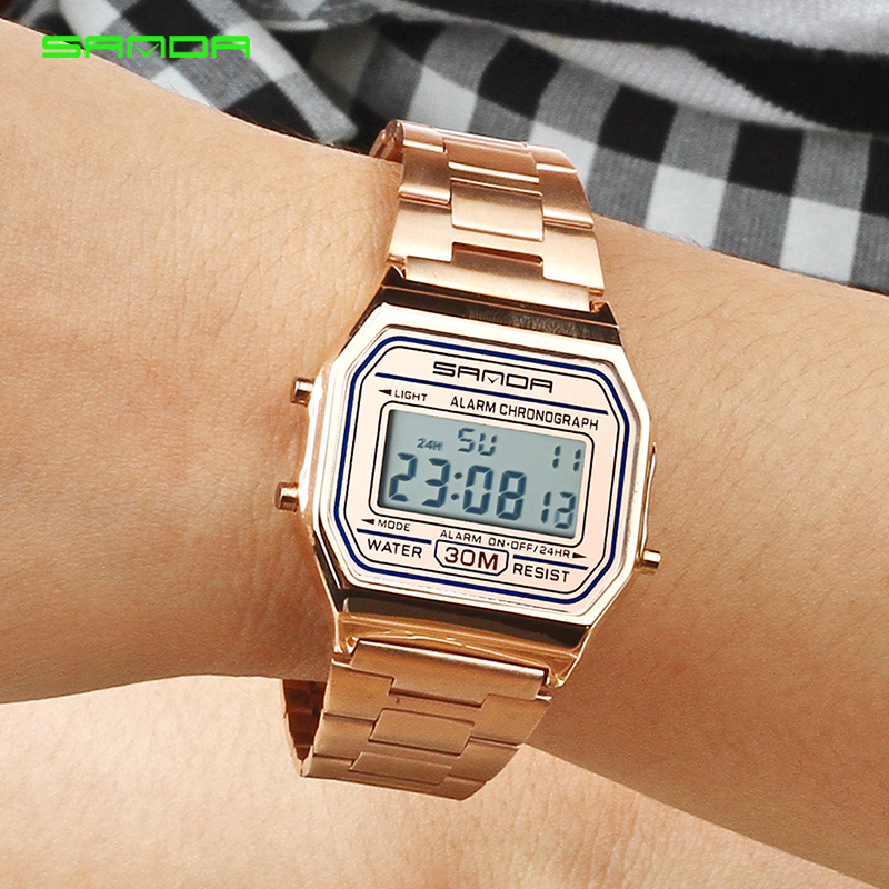 2018 SANDA Rose Gold Sport Watches Women Luxury Golden LED Electronic Digital Watch Waterproof Ladies Clock Female Reloj Mujer2018 SANDA Rose Gold Sport Watches Women Luxury Golden LED Electronic Digital Watch Waterproof Ladies Clock Female Reloj Mujer