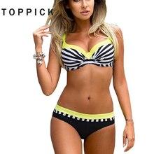 Push Up Striped Patchwork Dot Brazilian Bikini