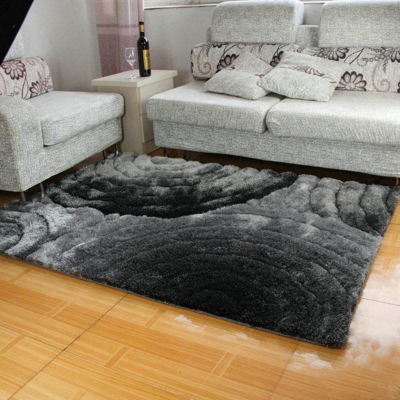 Tapis 3d 300d couleur unie gris noir 1.2mx1. 7 m