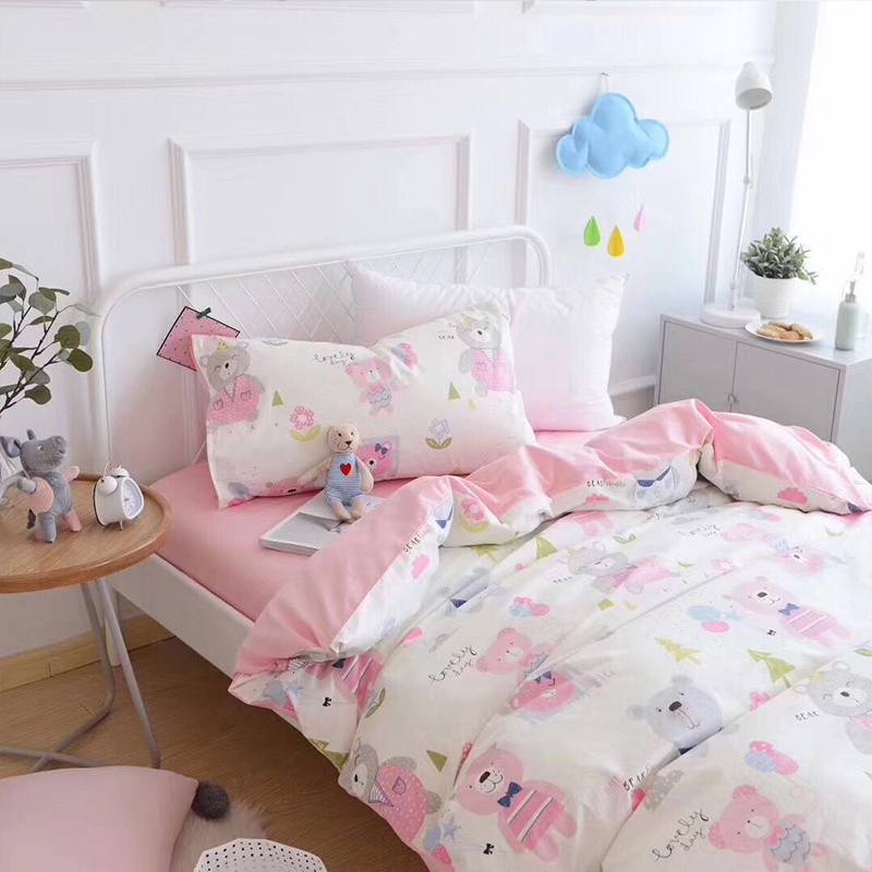 Arsmundi Cute Balloon Bear Children Cartoon Bedding Set Kid Duvet Cover Set 100% Cotton Bed Set With Flat sheet 3pcs