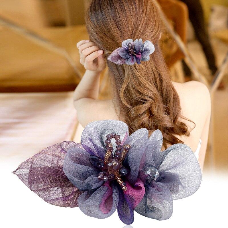 Temperament Flower Headdress Hairpin Color Floral Juan Yarn Spring Clip Female Barrettes Rhinestone Hair Accessories For Women
