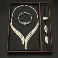 Luxury Full Crystal Indian Wedding Jewelry Sets Gold Silver Color Exaggerated Statement Necklace Bracelets Earrings Ring Sets