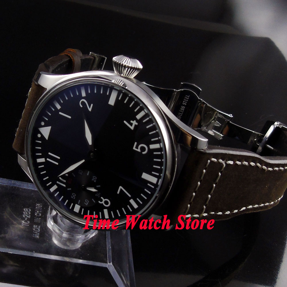 Parnis 44mm black dial luminous deployant clasp 6497 hand winding movement Men's watch P1 цены онлайн