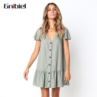 GNIBIEL Women's Summer Dress Short Sleeve V Collar Pleated Dress Solid Color Button Loose Mini Lady Gown Cotton Hemp Material