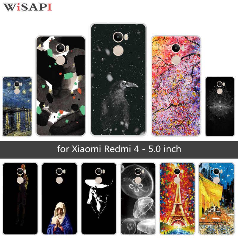 5.0นิ้วสำหรับXiaomi R Edmi 4แมงกะพรุนโทรศัพท์กรณีล้างTPU SilmซิลิโคนสำหรับXiaomi R Edmi 4 Redmi4กลับสีดำปกโทรศัพท์Capa