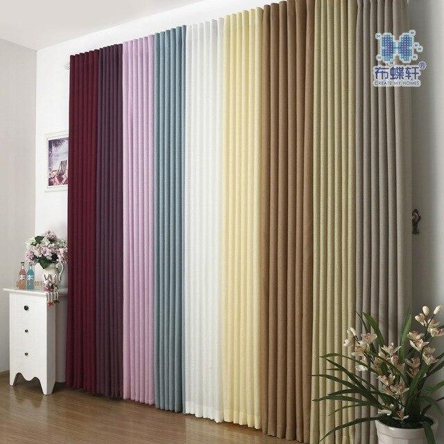 Semi translucidus Lino hogar cortina cortinas para sala llanura