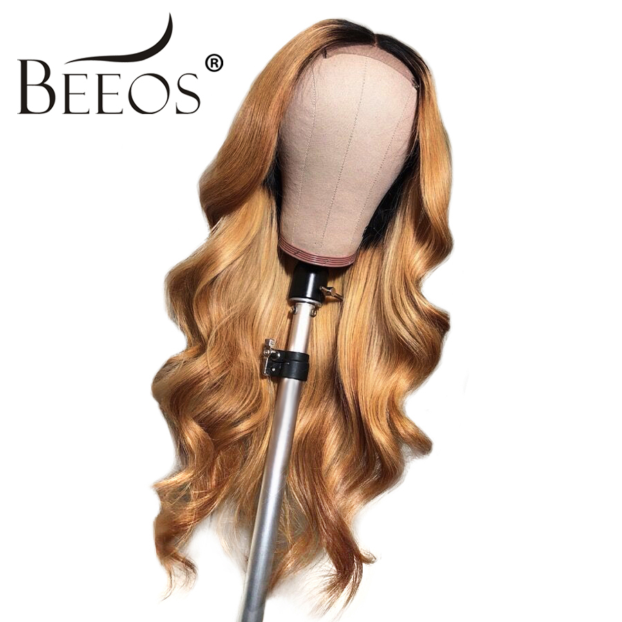 Body Wave 13 6 Brazilian Lace Front Human Hair Wigs With Baby Hair Ombre 1b 27