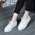 Women Flats Shoes Brand Casual Lace Up Oxfords Shoes Woman 2016 Fashion Female Platform Leather White Flats Shoes Ladies 2351