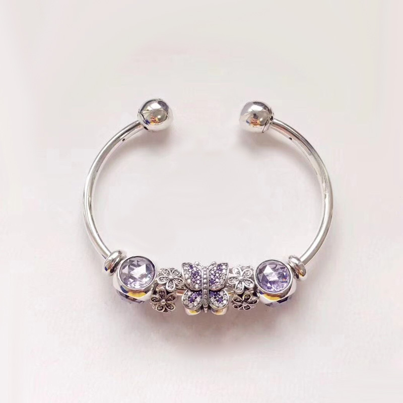 2018 Charming Purple Color Series Peaceful Adjustable New Arrival European Style 925 Sterling Silver Charm Bracelet charming color 100