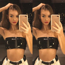 Casual Zipper Bandeau Solid Crop Top