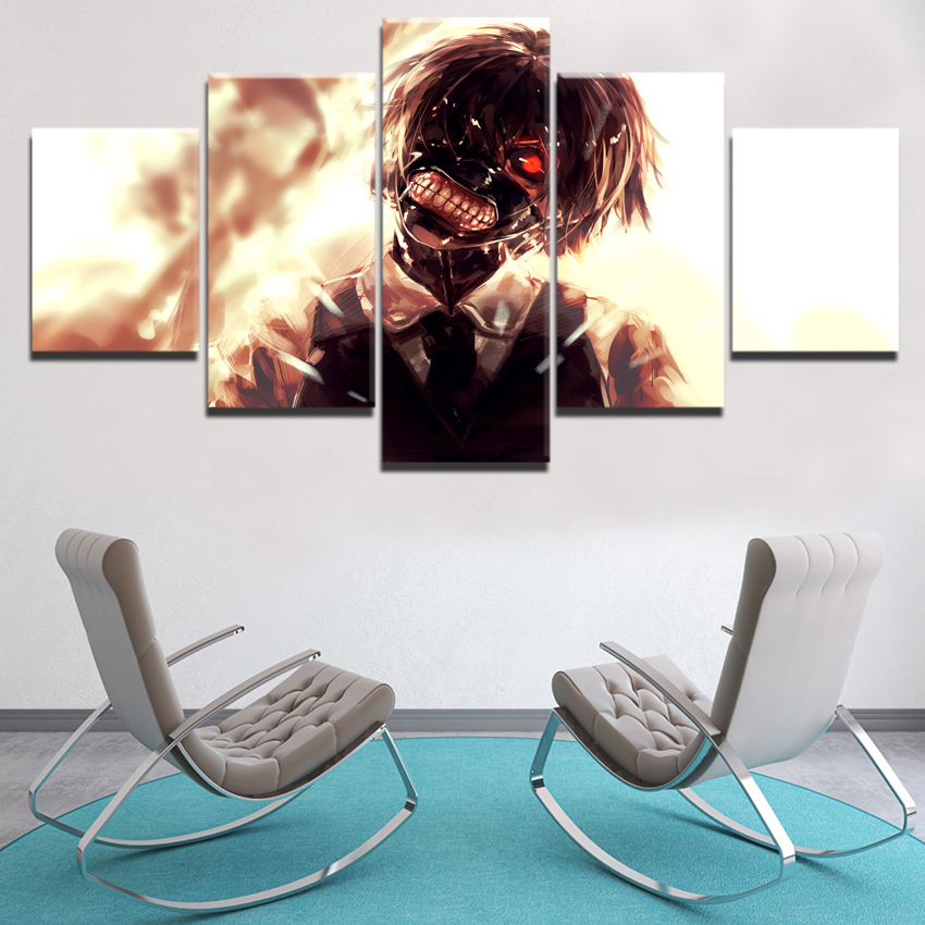 HD-Print-Canvas-Printed-Living-Room-Wall-Art-Face-mask-Tokyo-Ghoul-Anime-5-Pieces-Poster