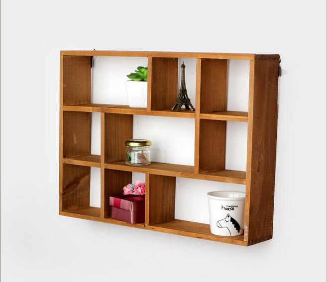 Buy Hollow Wooden Wall Shelf Storage