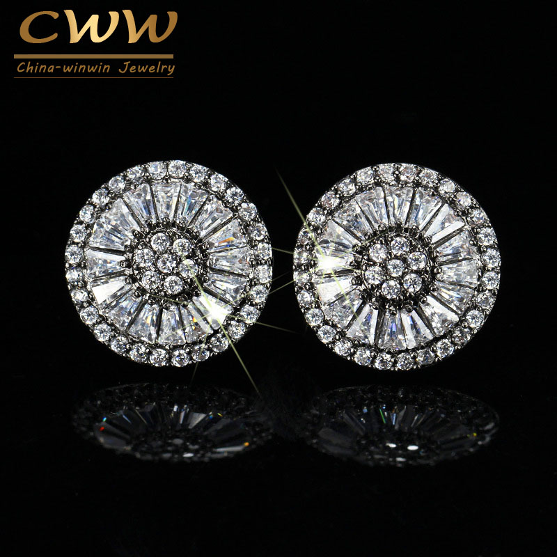 CWWZircons Brand Unique Design Black And Rose Gold Color CZ Stones Round Earring Stud Style Ear Jewelry For Ladies CZ026 four color round stud earring set 4pair