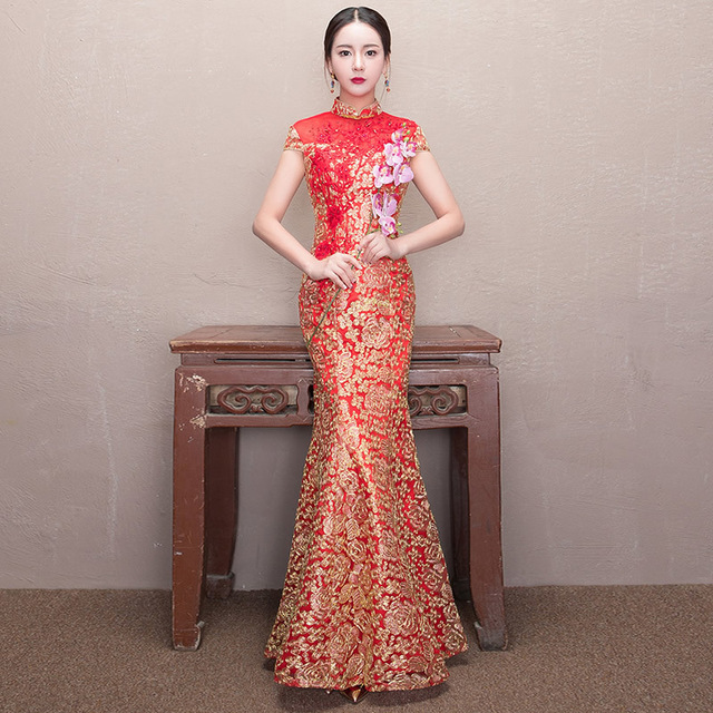 c43dc02c6ea Red Mermaid Wedding Dress Lace Bride Flower Qipao Traditional Chinese  Dresses Long Vintage Cheongsam Modern Woman