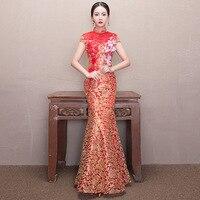 Red Mermaid Wedding Dress Lace Bride Flower Qipao Traditional Chinese Dresses Long Vintage Cheongsam Modern Woman Free Shipping