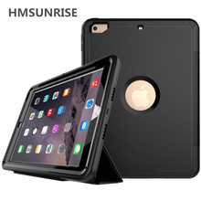 Hmsunrise 360 Full protection Case For apple ipad 9.7 2018 Kids Safe Shockproof Heavy Duty TPU Hard Cover kickstand A1893 A1822