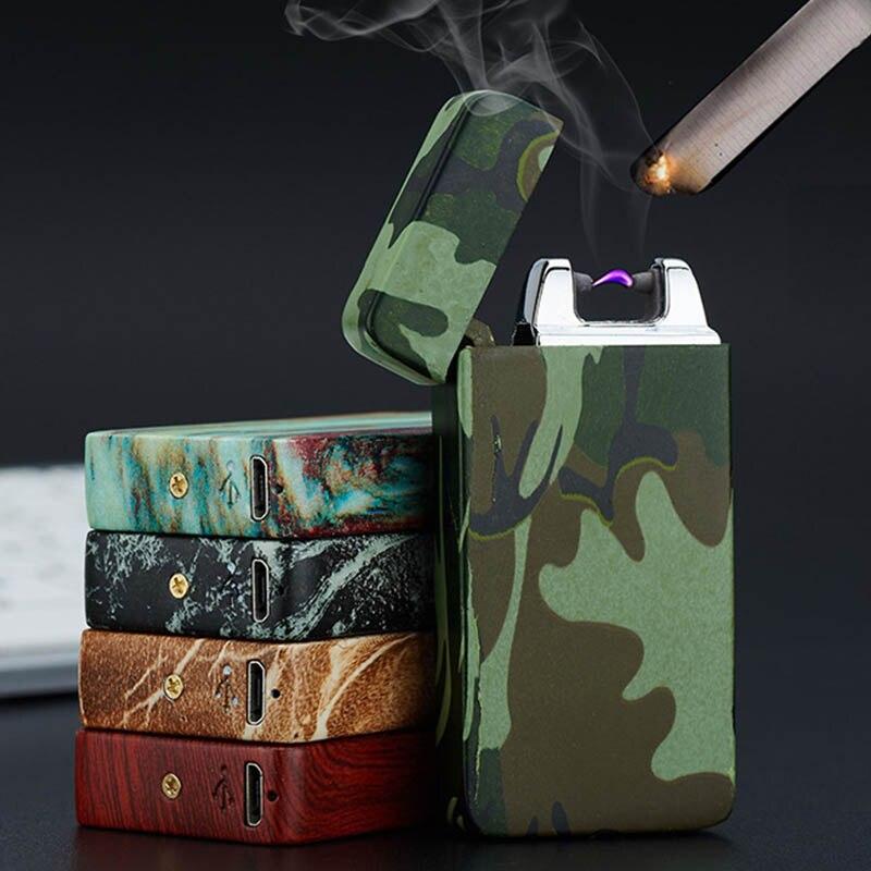1 предмет Arc двойной огонь зарядка через usb Зажигалка Курение аксессуары ветрозащитный Металл Беспламенного электронные зажигалки