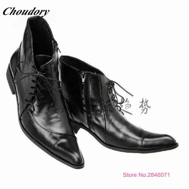Fashion Lace Up Black Mens Ankle Boots Men Dress Italian Leather