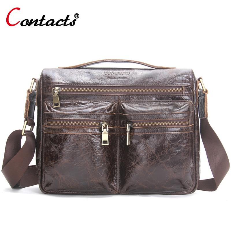 CONTACT'S Men messenger bag leather Handbag Cowhide Men Crossbody Bag male Shoulder Business Laptop Briefcase Travel Bag for Man