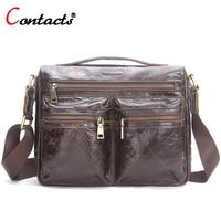 CONTACT S Men Messenger Bag Leather Handbag Cowhide Men Crossbody Bag Male Shoulder Business Laptop Briefcase