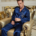 2017 New Full Sleeve Men Pajama Sets Turn-Down Collar Silk Satin Sleepwear Blue Imitation Silk Nightwear Male Homewear 3313