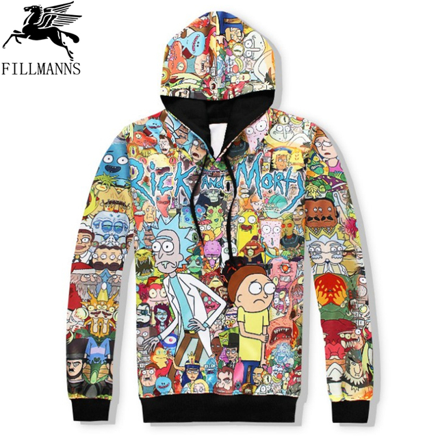 N  Rick and Morty men hoodies sweatshirts 3D Print cotton sweatshirt Hooded Unisex Scientist Anime Hoodies men/women clothing