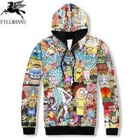 N Rick And Morty Men Hoodies Sweatshirts 3D Print Cotton Sweatshirt Hooded Unisex Scientist Anime Hoodies