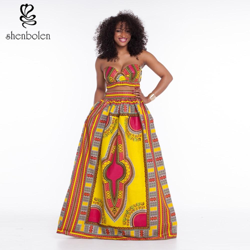 f7ddcd33728a 2018 καλοκαιρινά αφρικανικά φορέματα για γυναικεία σύνολα στράπλες κοντή  φούστα κορυφή και maxi φούστα dash.
