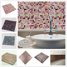 Rainqueen 30x30cm 3D Metal Mosaic Self Adhesive Wall Sticker Kitchen Backsplash Bathroom Peel And Stick Wall Tile Home DIY Decor shell mosaic mother of pearl natural colorful kitchen backsplash tile bathroom background shower decor luster wall tile lsbk1005