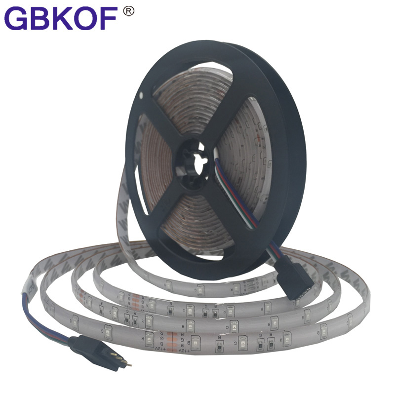 Best price 12V DC 5M/lot non waterproof 5050 3528 RGB LED Strip light SMD Flexible light 60leds/m LED stripe ribbon tape