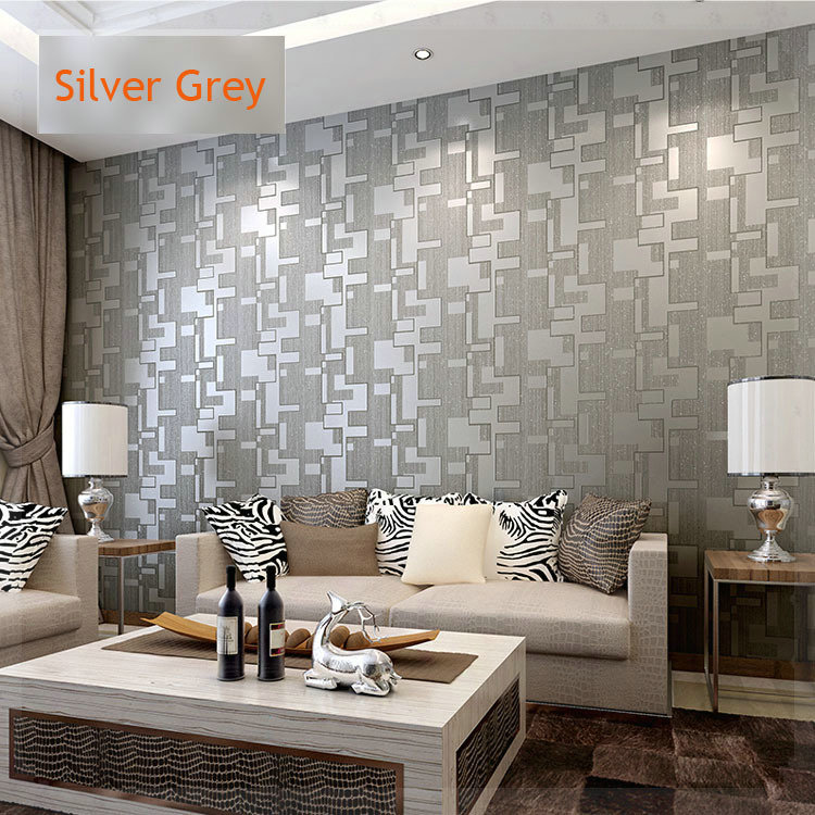 Microfiber nonwoven wallpaper roll 3d waterproof background wall classic decor wall papers for Silver wallpaper living room