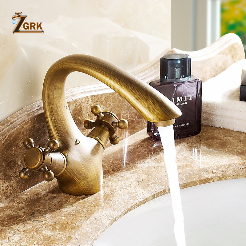 ZGRK Deck Mounted Antique Brass Faucet Single Hole Dual Handle Bathroom Faucets Basin Mixer Tap стоимость