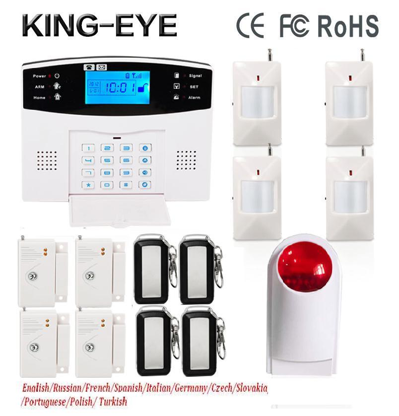 Russian/Polish/Turkish voice Wireless anti-theft smart home gsm sms alarm system smartphone control with outdoor strobe siren hzsecurity electromagnetic system em library anti theft system one aisle