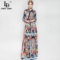 New 2017 Fashion Runway Maxi Dress Women S Long Sleeve Bow Collar Elegant Leopard Floral Flower
