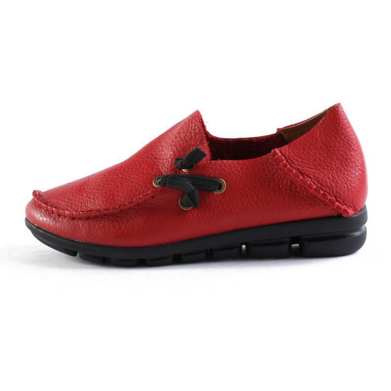 Solide rouge Femmes Cuir 40 Noir Bout Croix 34 Rond Couleur Lebaluka 5 Sangle ivoire blanc Chaussures Taille En Véritable Appartements marron I4Hxvq