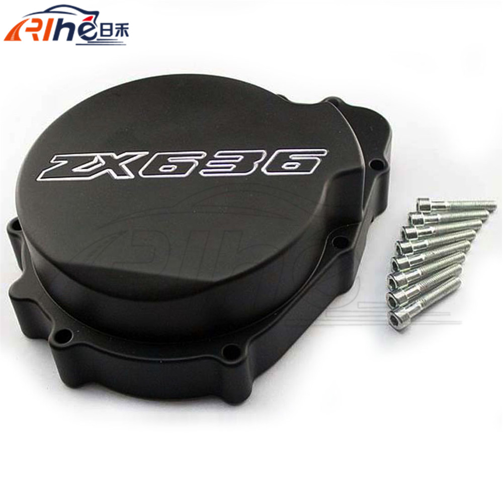 new motorcycle accessories aluminum engine stator cover black motorbike engine stator cover For KAWASAKI NINJA zx636 2003 2004 motorcycle accessories engine decorative cover motorbike engine cover for harley davidson 2006 sportster 1200 roadster xl1200r