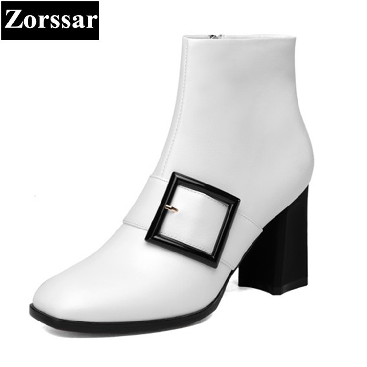 {Zorssar} 2017 NEW Winter warm Ladies shoes Fashion buckle Genuine Leather Women Ankle Boots High heels short Martin boots zorssar 2017 new winter ladies shoes fashion real leather women ankle boots high heels platform womens martin boots size 33 43