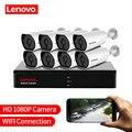 LENOVO 1080 P POE NVR Kit 2.0MP HD CCTV безопасности Камера Системы аудио ip-камера с монитором P2P наружного видеонаблюдения, Системы