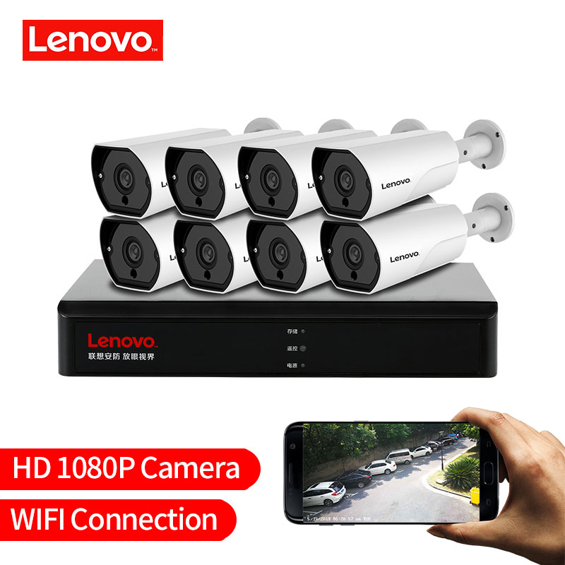 LENOVO 1080 P POE NVR Kit 2.0MP HD CCTV Sistema de câmera de Segurança Câmera IP monitor de Áudio P2P de Vigilância de Vídeo Ao Ar Livre sistema