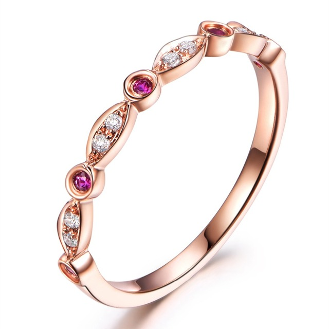 MYRAY Natural Round Cut Ruby Diamond Stones Antique 14k Rose Gold