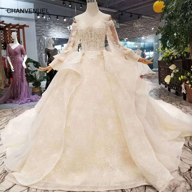 Lss110 Fast Free Shipping Wedding Dresses Long Lantern Sleeves Ruffle Ball Gown Flowers China