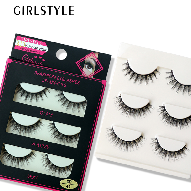 GIRLSTYLE Flash Eyelashes 3pairs/sets 3D Extention Eyelashes Makeup Tool Thick Curling Crisscross Sexy Flash Eyelashes Cosmetics