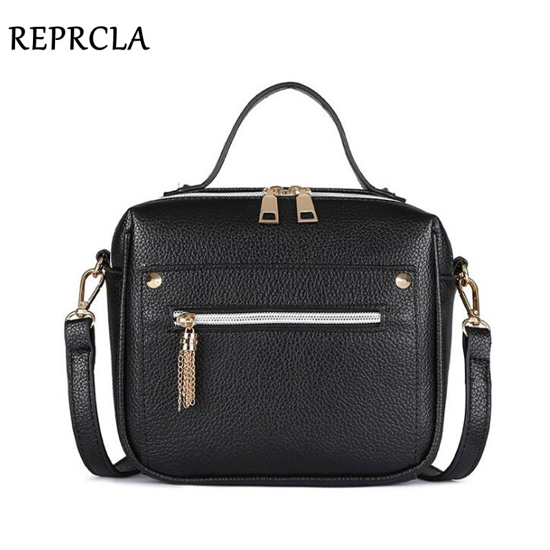 REPRCLA High Quality Tassel Women Messenger Bags Luxury Handbags Top-handle Bag PU Leather Shoulder Bag Crossbody Women Bag