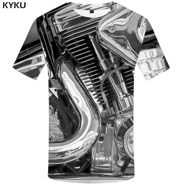 d8d8ea14b45 KYKU Motorcycle Tshirt Women Gray T Shirt Punk Rock Clothes Mechanical 3d  Print T-shirt Chinese Cool Gothic Womens Clothing 2018