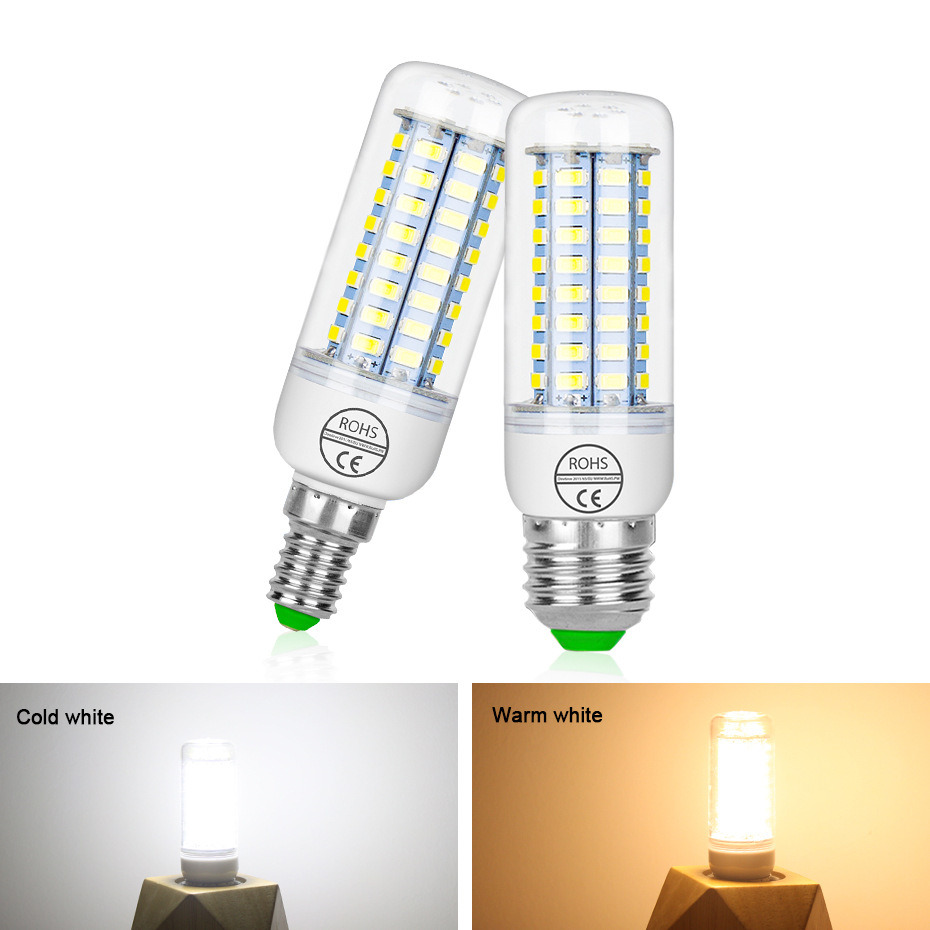 E27 Led Lamp 220v Smd 5730 E14 Led Light Bulb 24 36 48 56 69 72 Leds Corn Bulb Chandelier Candle Led Light For Home Decoration