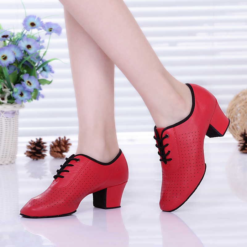 Sneaker Shoes Woman Latin Leather Dance Shoes Leather Ladies Ballroom Dance Modern Teachers Shoe Square Sailors Mujer